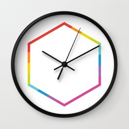Pride: Rainbow Geometric Hexagon Wall Clock