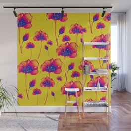 Fantasy fire flowers. Delicate blooming subtle feminine red flaming flowers. Lovely glamorous floral botanical plant golden yellow moody design. Wall Mural