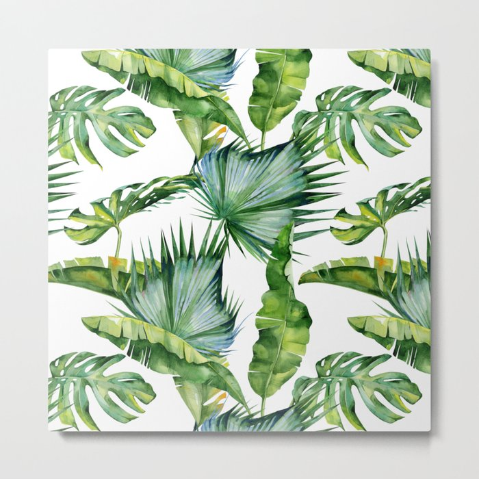 Tropical Island Plants on White Metal Print