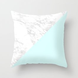 White Marble with Pastel Blue and Grey Throw Pillow
