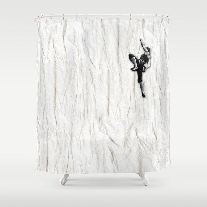 Woman Climbing a Wrinkle Shower Curtain