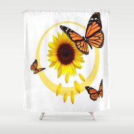ORANGE MONARCH BUTTERFLIES & SUNFLOWER  PATTERN Shower Curtain