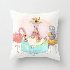 Animal tea party Throw Pillow