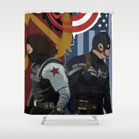 winter soldier Shower Curtains featuring Winter Soldier by Evan Tapper