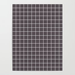 Dark liver - grey color - White Lines Grid Pattern Poster