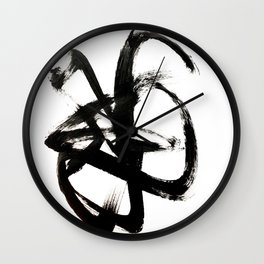 Brushstroke 4 - a simple black and white ink design Wall Clock