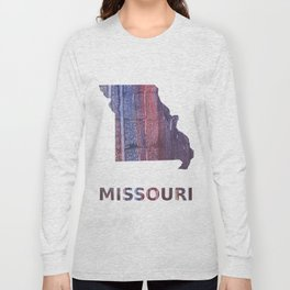 Missouri map outline Red Blue stained watercolor texture Long Sleeve T-shirt