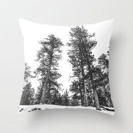 Snowscape Sky // Winter Trees Black and White Landscape Snow Ski Snowboard Photography Throw Pillow