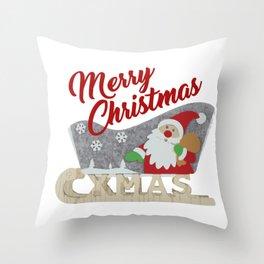 Santa Claus Sled white Throw Pillow
