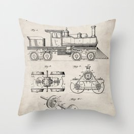 Train Locomotive Patent - Steam Train Art - Antique Throw Pillow