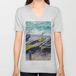 Three Fishing Boats by Claude Monet Unisex V-Neck