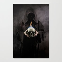 Skull on fire Canvas Print