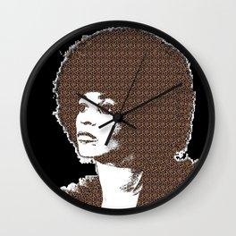 Angela Davis - Black Background Wall Clock