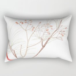 Winter Branches (white pine and rose hips) in Watercolor Rectangular Pillow
