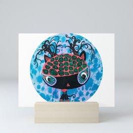 Black Cat with Buff Coolnet Big head cat round circle painting Mini Art Print