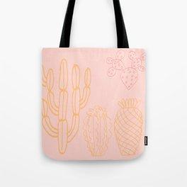 Pastel cactus in desert Tote Bag