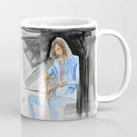neil gaiman Mugs featuring Neil Young On Guitar by Mark T. Zeilman