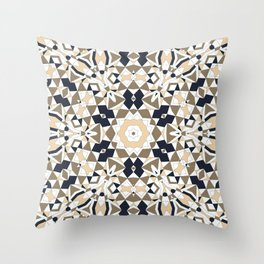 Mandala grey and beige Throw Pillow