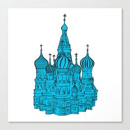 Moscow Kremlin illustration with colored backplate. Canvas Print