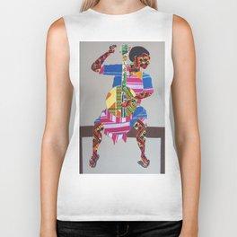 African Fabric Collage 3 Biker Tank