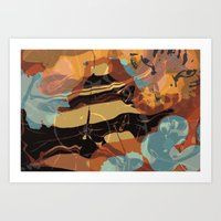 cheshire cat Art Prints featuring Cheshire by Marwood Designs