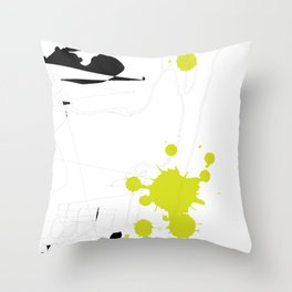 Lime Green Abstract Rick Genest Throw Pillow
