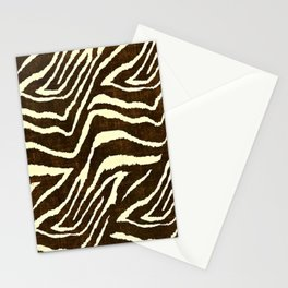 Animal Print Zebra in Winter Brown and Beige Stationery Cards