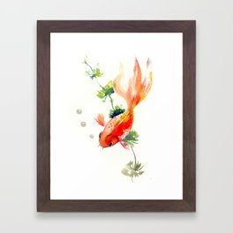 Goldfish, aquarium fish art, design watercolor fish painting Framed Art Print