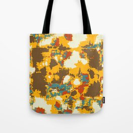 psychedelic geometric painting texture abstract in yellow brown red blue Tote Bag