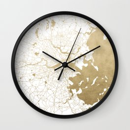 Boston White and Gold Map Wall Clock