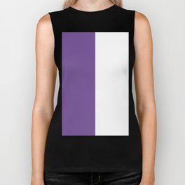 White and Dark Lavender Violet Vertical Halves Biker Tank