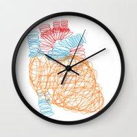 anatomical heart Wall Clocks featuring Anatomical Heart by Media Profunda