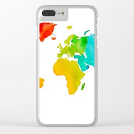 Original Watercolor - Map of The World - Travel Art - Chakra Rainbow Colors Clear iPhone Case