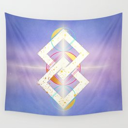 Linked Lilac Diamonds :: Floating Geometry Wall Tapestry