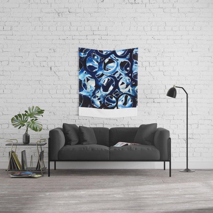 Cobalt Circles Wall Tapestry