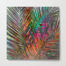 Multicolor Palm Leaves Metal Print