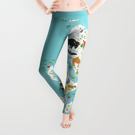 Cartoon animal world map for children and kids, Animals from all over the world Leggings