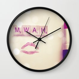 MWAH Lipstick Rose Scrabble Wall Clock