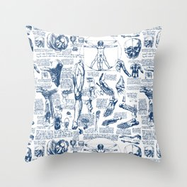 Da Vinci's Anatomy Sketchbook // Dark Blue Throw Pillow