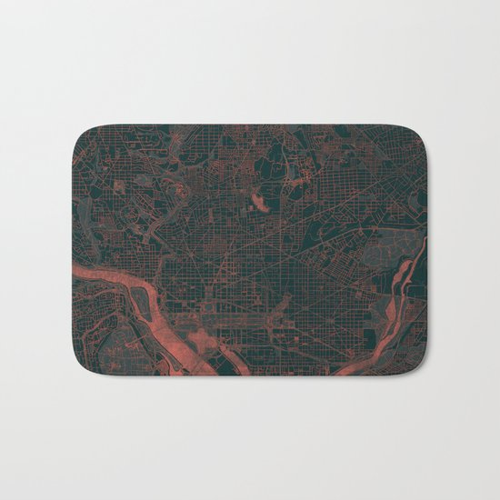 Washington Map Red Bath Mat