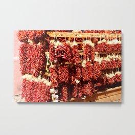 Red Chili Ristra And Gralic Metal Print