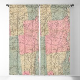 Vintage Map of The Adirondack Mountains (1883) Blackout Curtain