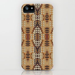Orange Khaki Dark Caramel Coffee Brown Rustic Native American Indian Mosaic Pattern iPhone Case