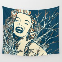 monroe Wall Tapestries featuring Marilyn Monroe by Clare Corfield Carr