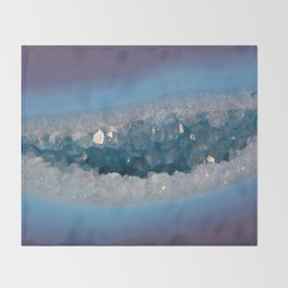 Sparkly Purple and Blue Geode Agate with Crystal Druzy Throw Blanket