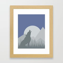 Wolf in the Night Framed Art Print