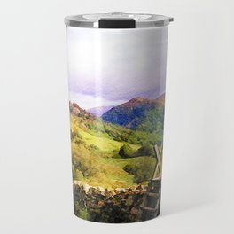 Stile over a Dry Stone Wall, Lake District, UK. Watercolour Painting Travel Mug