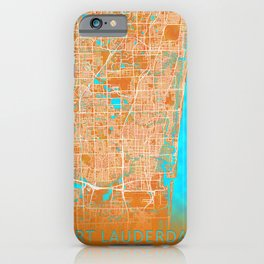 Fort Lauderdale, FL, USA, Gold, Blue, City, Map iPhone Case