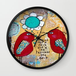 I love you a bushel and a peck, whimsical birds with flower Wall Clock