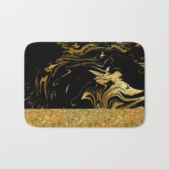 Luxury and glamorous gold glitter and black marble Bath Mat